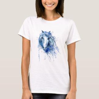Watercolor horse Portrait with paint splatter T-Shirt