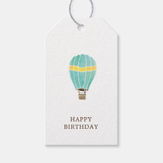 Watercolor Hot Air Balloon Birthday Present Gift Tags