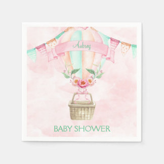 Watercolor Hot Air Balloon Mint Pink Peach Paper Napkin