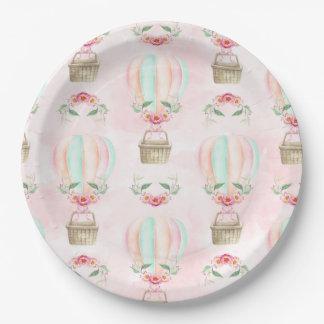 Watercolor Hot Air Balloon Mint Pink Peach Paper Plate