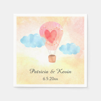 Watercolor Hot Air Balloon Wedding Disposable Napkins