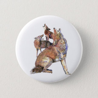 Watercolor Howling Coyote Family Animal 2 Inch Round Button