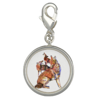 Watercolor Howling Coyotes Animal Art Charm