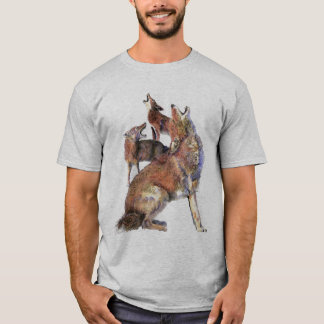 Watercolor Howling Coyotes Animal Nature Art T-Shirt