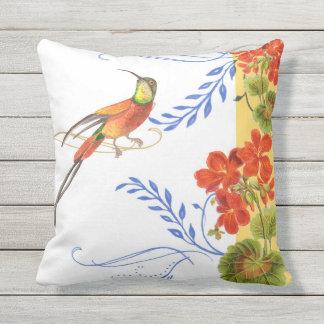 Watercolor Hummingbird Swirl Red Geranium Flowers Throw Pillow