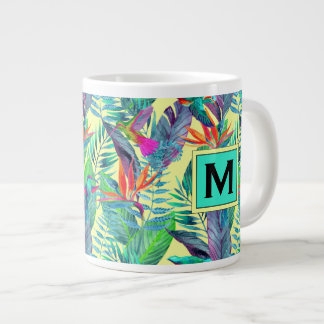 Watercolor Hummingbirds | Add Your Initial Large Coffee Mug