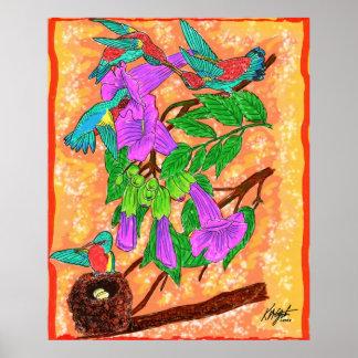 Watercolor Hummingbirds Poster