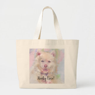 Watercolor Husky Dog Large Tote Bag
