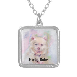 Watercolor Husky Dog Silver Plated Necklace