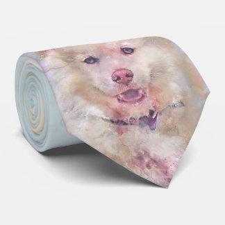 Watercolor Husky Dog Tie