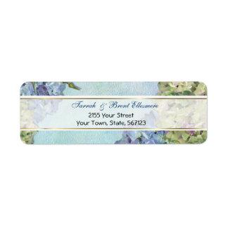 Watercolor Hydrangea Floral -  Address Label Slim