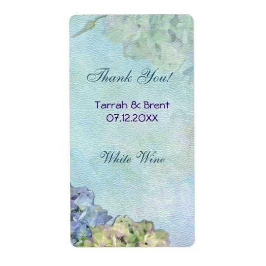 Watercolor Hydrangea - Wine Label  Medium Shipping Label
