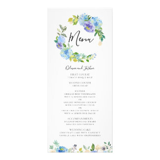 Watercolor Hydrangeas Floral Wreath Wedding Menu