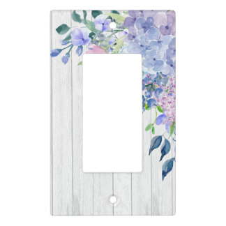 Watercolor Hydrangeas on Rustic Wood Background Light Switch Cover