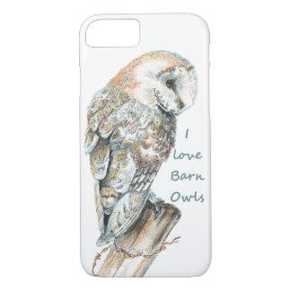 "Watercolor ""I love Barn Owls"" Barn Owl Bird art iPhone 7 Case"