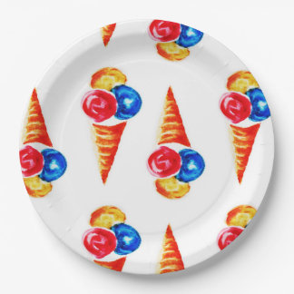 Watercolor ice cream-cone 9 inch paper plate