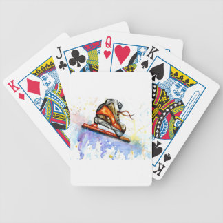 Watercolor Ice Skate Bicycle Playing Cards