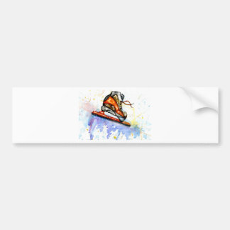 Watercolor Ice Skate Bumper Sticker