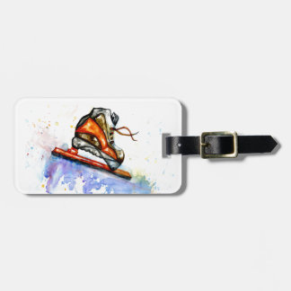 Watercolor Ice Skate Luggage Tag