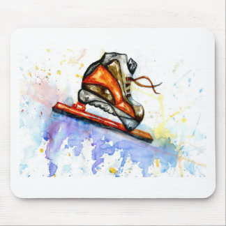 Watercolor Ice Skate Mouse Pad