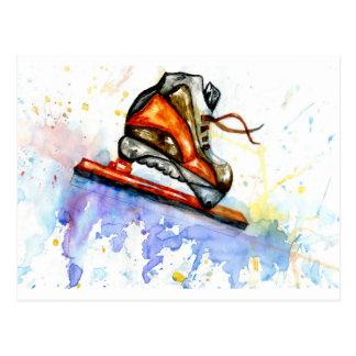Watercolor Ice Skate Postcard