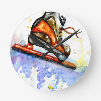 Watercolor Ice Skate Round Clock