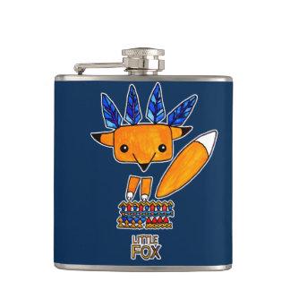 Watercolor illustration cute Fox. Fun nice animal Hip Flask