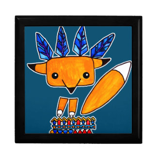 Watercolor illustration cute Fox. Fun nice animal Keepsake Boxes