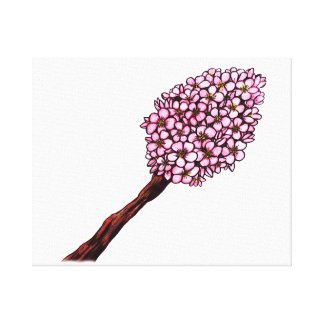 watercolor illustration pink cherry blossoms bunch canvas print