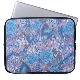 Watercolor in blues laptop sleeve