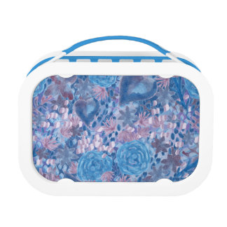 Watercolor in blues lunch box