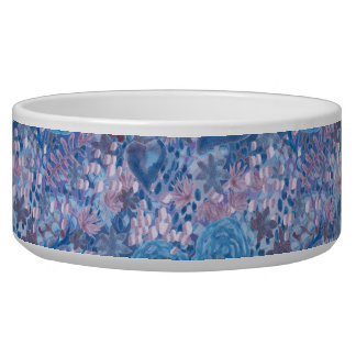 Watercolor in blues pet food bowls