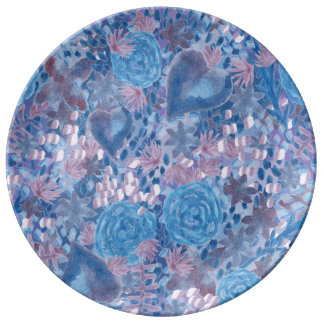 Watercolor in blues plate