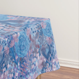 Watercolor in blues tablecloth