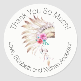 Watercolor Indian Headdress Thank You Personalized Classic Round Sticker