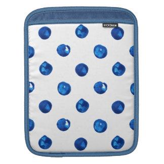 Watercolor indigo blue polka dots pattern iPad sleeves