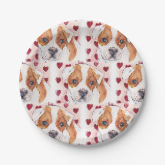 Watercolor Ink Puppy Love Hearts Paper Plate
