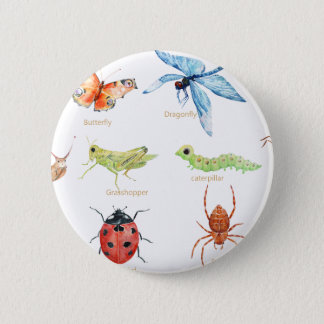 Watercolor insect illustration 2 inch round button