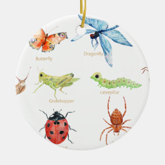 Watercolor insect illustration ceramic ornament