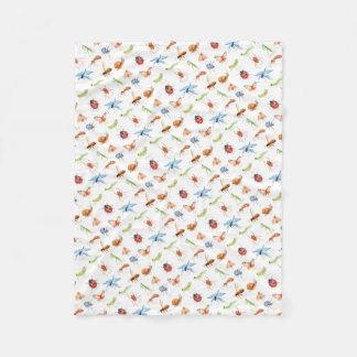 Watercolor insect illustration fleece blanket