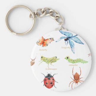 Watercolor insect illustration keychain