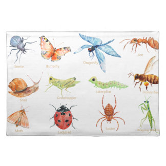 Watercolor insect illustration placemat