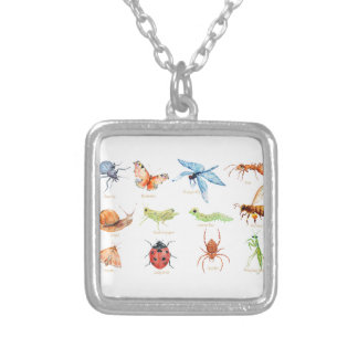 Watercolor insect illustration silver plated necklace