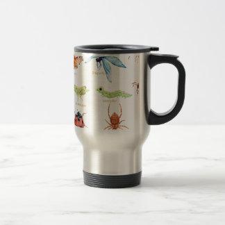 Watercolor insect illustration travel mug