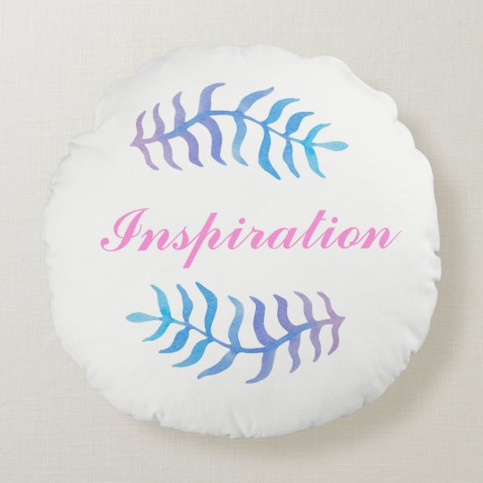 Watercolor inspiration round pillow