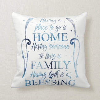 Watercolor Inspirational Quote about Home - Family Throw Pillow