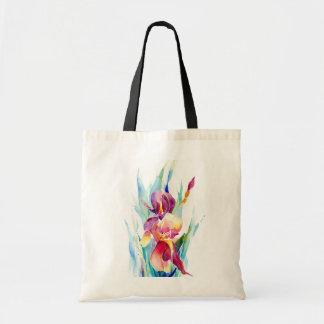 Watercolor Iris Design Tote Bag
