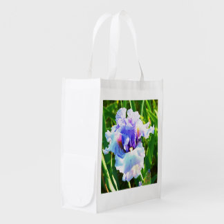Watercolor Iris in Lavender and Blue Reusable Grocery Bag