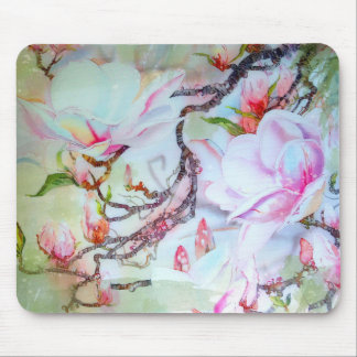 Watercolor Japanese Orchids White Pink Floral Mouse Pad