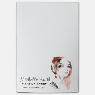 Watercolor jewellery make up artist branding post-it notes